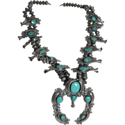 Fabulous Native American Large Ornate Squash Blossom Necklace Silver Turquoise