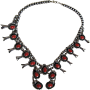 Native American Squash Blossom Necklace Sterling Silver Coral