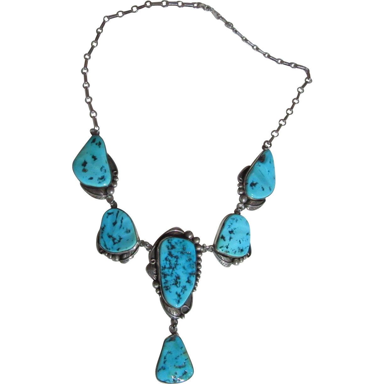 Native American Sterling Silver and Turquoise Necklace ...