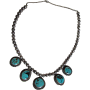 Native American Sterling Silver and Turquoise Pendants Necklace