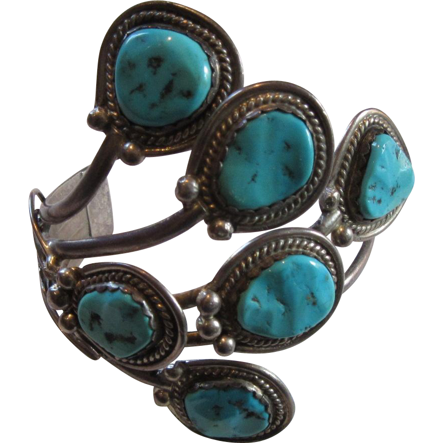 Fabulous Native American Sterling Turquoise Unusual Bracelet Fine Jewelry