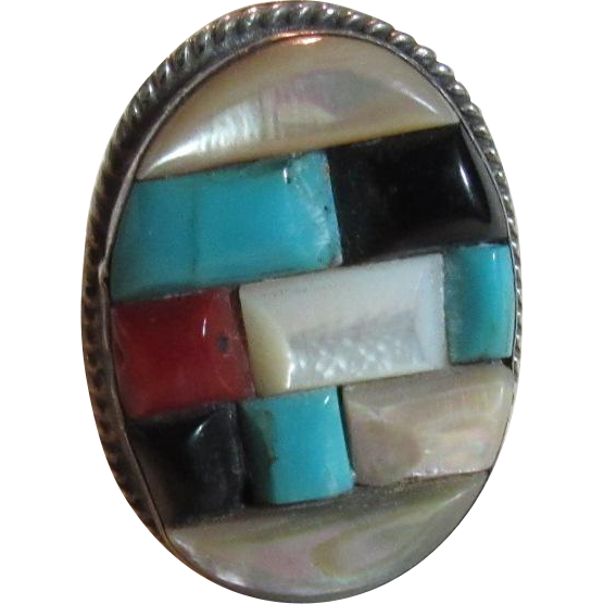 Native American Channel Inlay Ring Turquoise MOP Coral Size 11