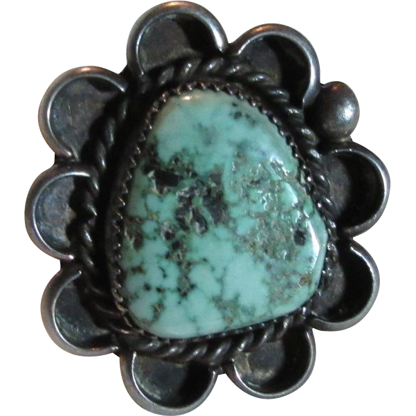 Native American Sterling Silver Turquoise Ring Size 7 1/2