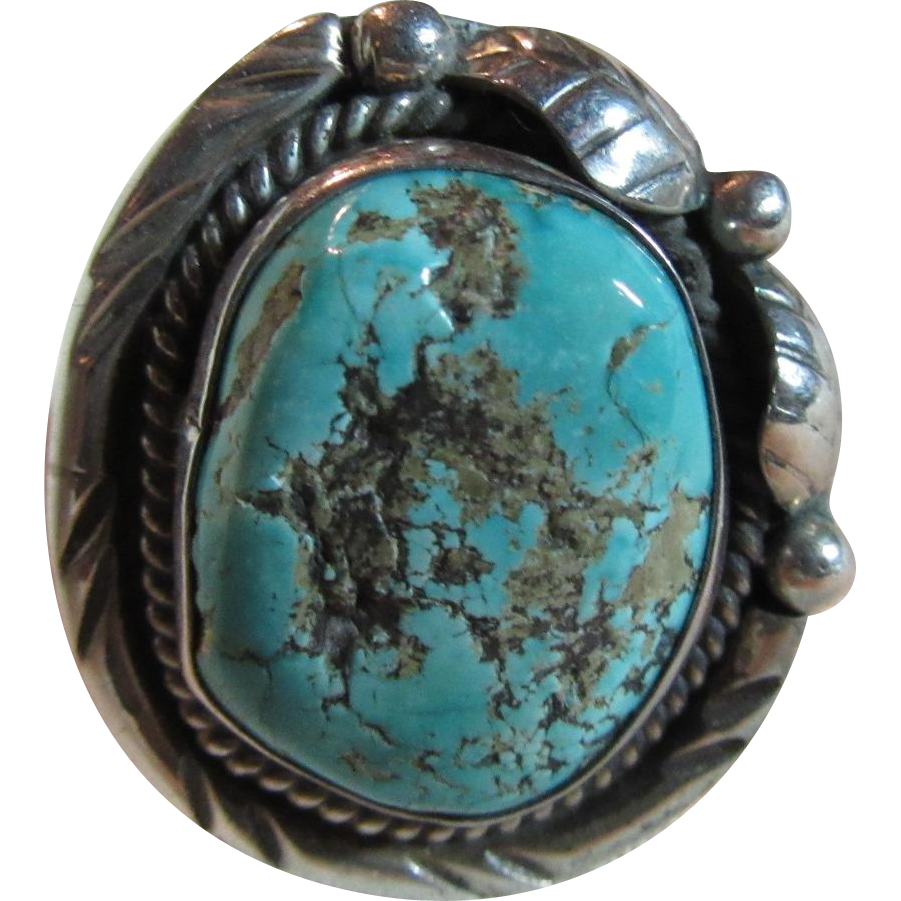 Large native american silver turquoise ring size from for Southwestern silver turquoise jewelry