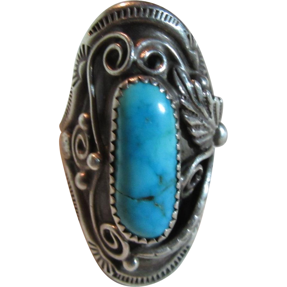 Large Native American ring Silver Turquoise Size 10