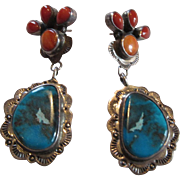 Native American Signed Sterling Turquoise Spiny Oyster or Coral Earrings
