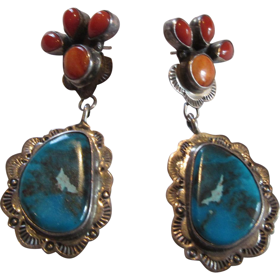 Native American Signed Sterling Turquoise Spiny Oyster Or