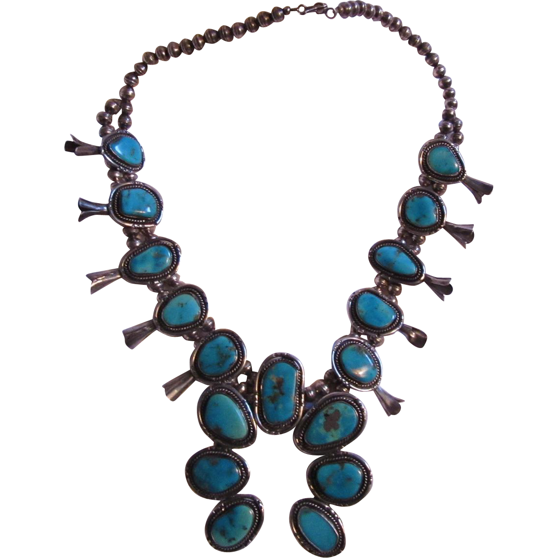 Native American Castledome Turquoise and Sterling Silver Squash Blossom Necklace