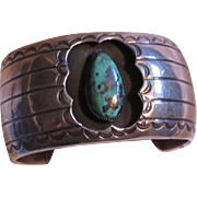 Native American Sterling Turquoise Shadowbox Heavy Bracelet
