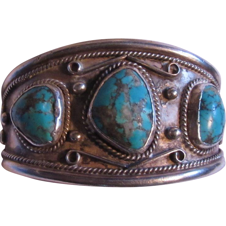 Native American Sterling Silver Turquoise Large Bracelet