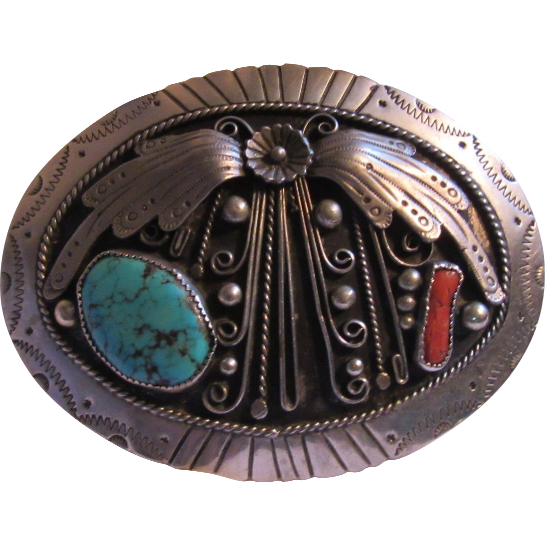 Native American Silver Turquoise Coral Ornate Belt Buckle Signed