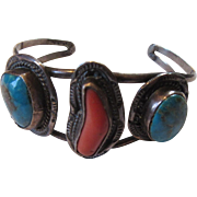 Native American Bracelet Silver Turquoise Coral Old Pawn
