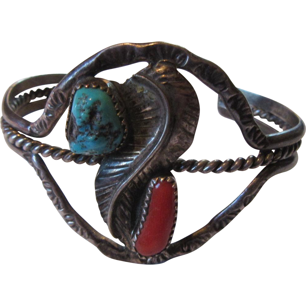 Native American Sterling Silver Turquoise Coral Bracelet Signed