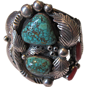 Native American Phil Chapo Sterling Silver Turquoise Coral Fancy Large Bracelet