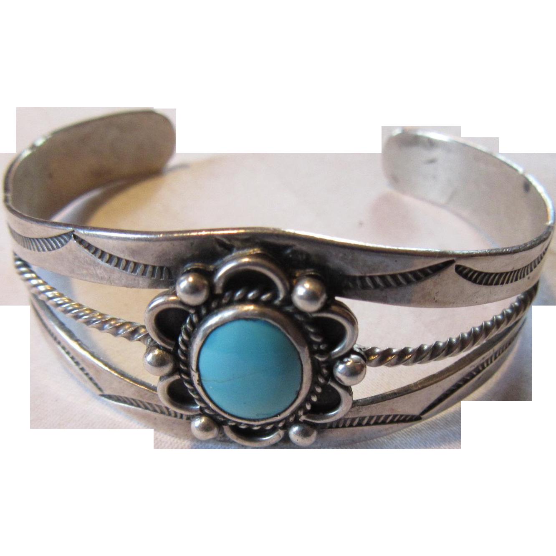 Native American Vintage Bracelet Sterling Silver Turquoise