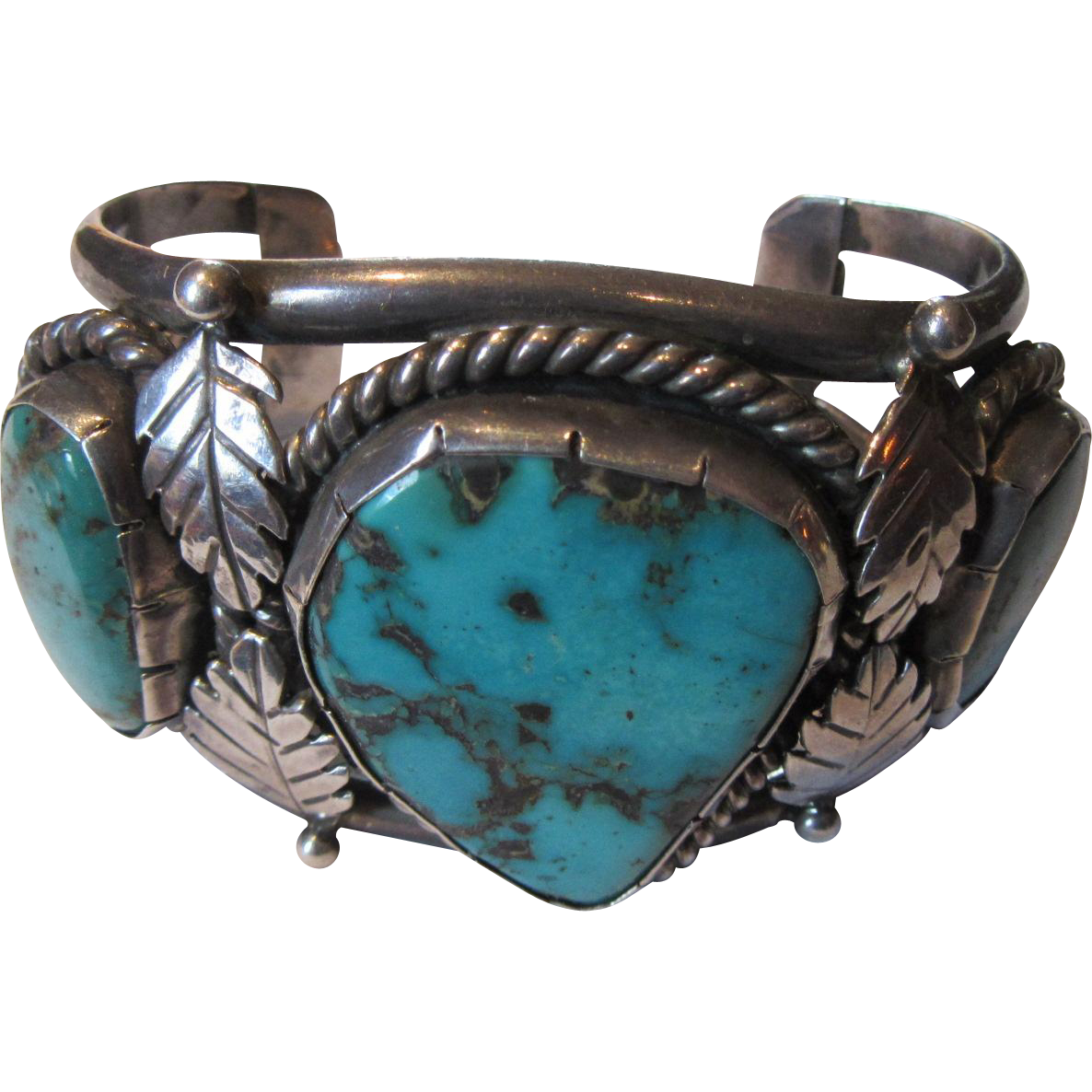 Large Vintage Native American Silver Turquoise Ornate Bracelet Signed