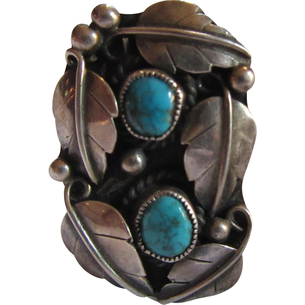 Native American Unusual Ring Sterling Turquoise Size 9