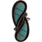 Native American Zuni Inlay Turquoise Silver Ring Size 8.5