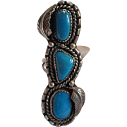 Native American Long Ring Silver Turquoise Size 7