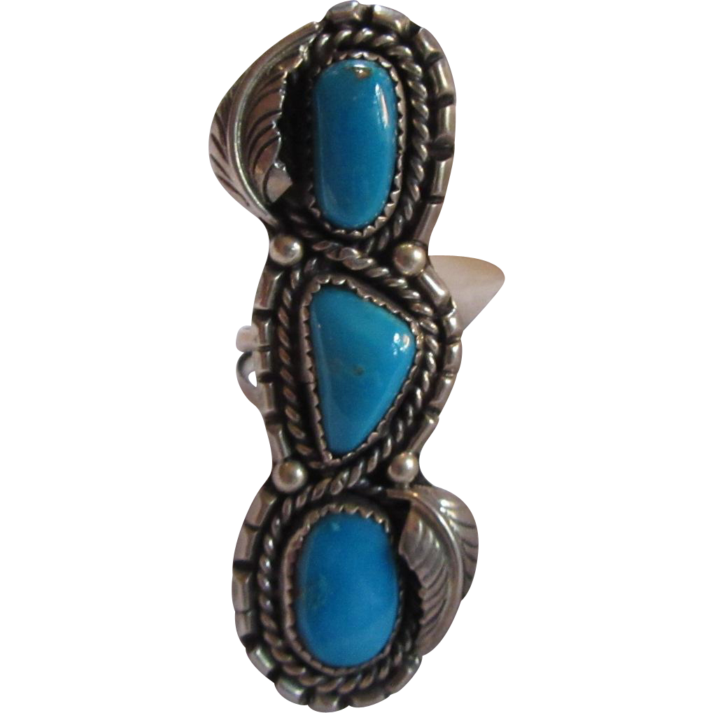 Native american long ring silver turquoise size 7 from for Southwestern silver turquoise jewelry