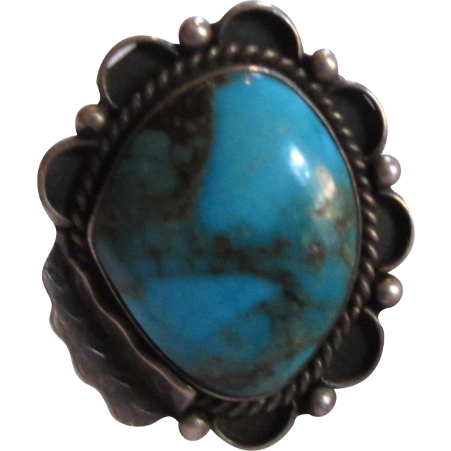 Native American Ring Silver Large Turquoise Size 4.5