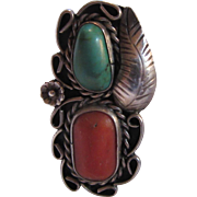 Native American Ring Silver Turquoise Coral Size 7