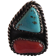 Native American Ring Silver Turquoise Coral Size 7.5