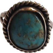 Native American Silver Turquoise Ring Size 4.5