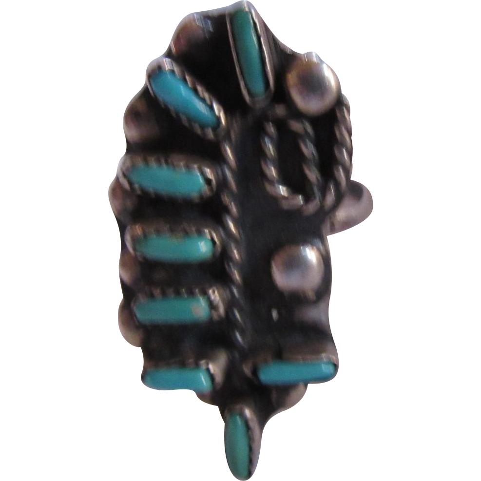 Unusual Native American Zuni Silver Turquoise Ring Size 8