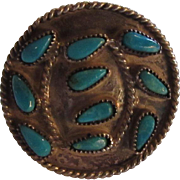 Native American Silver Turquoise Ring Unusual Size 6.5