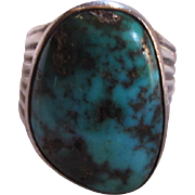 Native American Mans Ring Silver Turquoise Large Stone Size 10.25