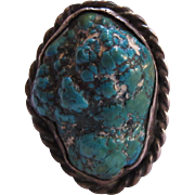 Native American Ring Silver Turquoise Seafoam Nugget Size 12.5