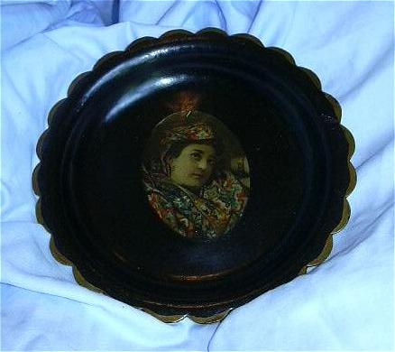 Antique Papier Mache Portrait Plate 19th Century Fine Decorative Paper Mache Art