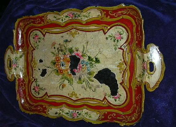 Old Hand Painted Japan Papier Mache Tray Flowers Fine