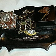 Antique Papier Mache Inkstand Or Standish Signed Jennens & Bettridge Inlaid Mother Of Pearl