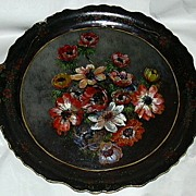 19th C Papier Mache Platter Hand Painted Flowers Painting Rare Decorative Art