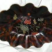 19th C Antique Papier Mache Centerpiece Bowl Painted Flowers Fine English Decorative Art