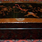 Antique Lacquer Glove Box Hand Painted Decorative Accessory