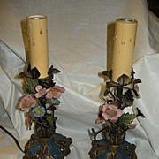 Pair Hand Painted Flowers Metal Candlestick Lamps