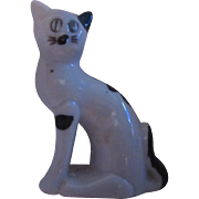 Old Cat Porcelain Ceramic Figurine Black White Kitten Vintage Japan