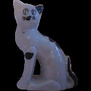 Old Cat Porcelain Ceramic Figurine Black White Kitten Vintage Japan