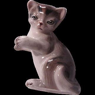 Old Brown White Tabby Cat Kitten Figurine