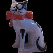 Old Cat Figurine Vintage Japan Black White Kitten