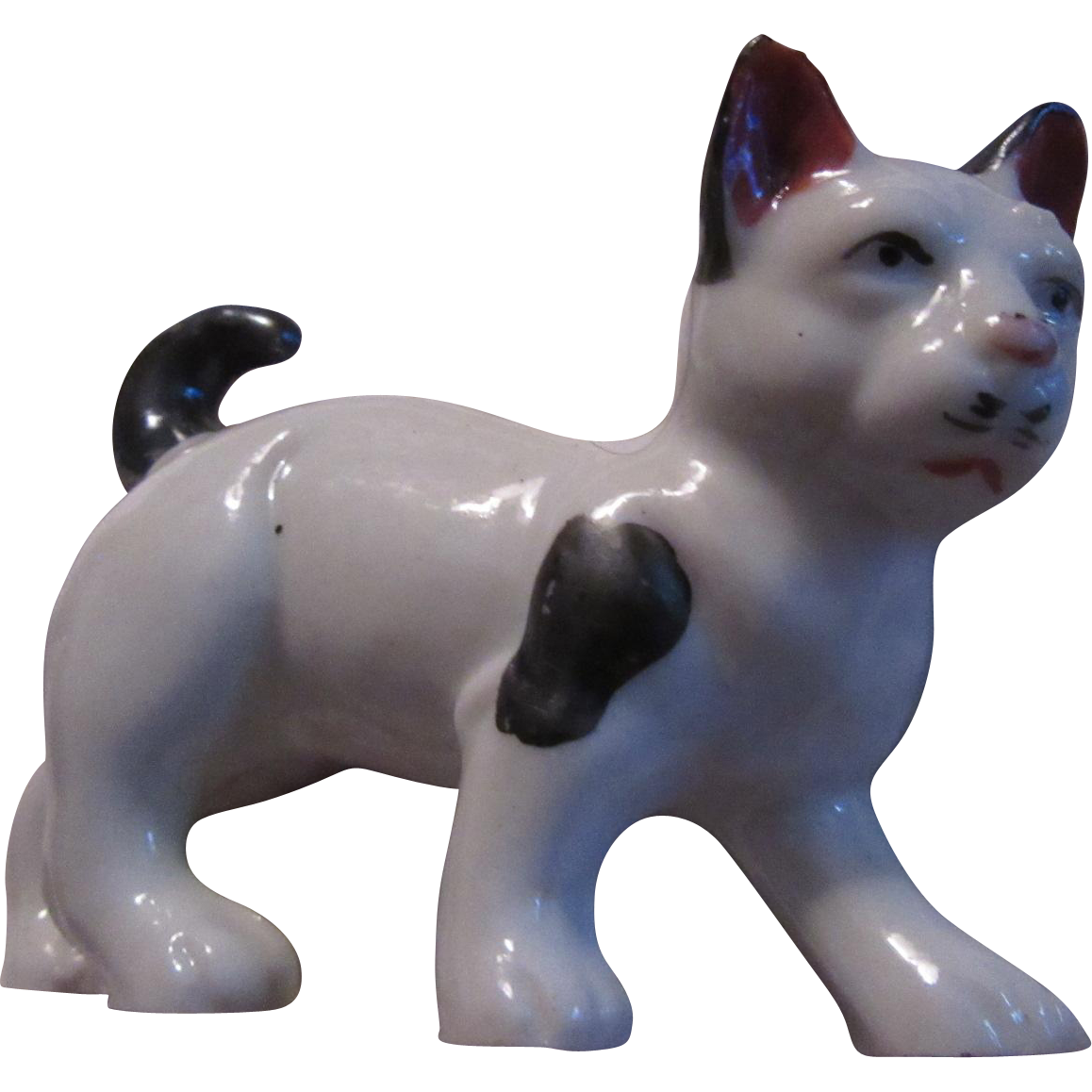 Old Cat Figurine Black White brown Tricolor Ceramic Vintage Japan Kitten