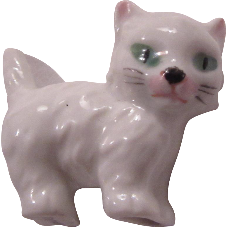 Germany Porcelain White Cat Figurine Miniature Kitten