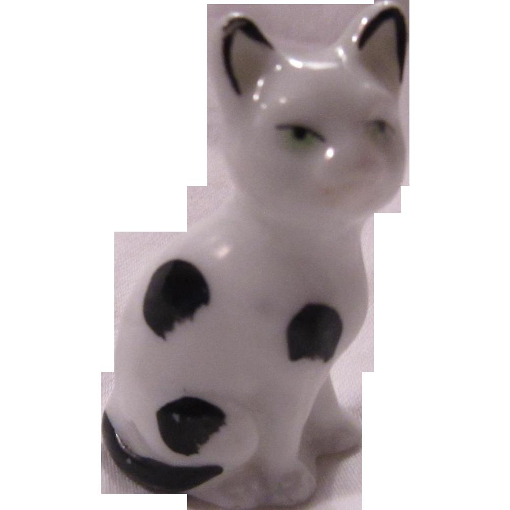 Germany Porcelain Cat Figurine Black White Kitten