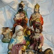 Nativity Set Large Vintage Japan 11-PC Ornate Christmas Statues