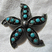 Native American Indian Brooch Pendant Silver & Turquoise Signed