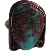 Unusual Old Native American Ring Silver Turquoise