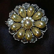 Antique Brooch Pendant Faux Pearl & Faux Diamond